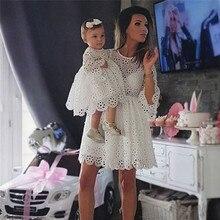 Модная одежда для маленьких девочек и женщин; хлопковые Повседневные Вечерние мини-платья с круглым вырезом и рукавами три четверти с геометрическим узором
