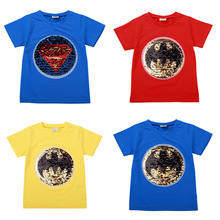 Change Face Color Magic Discoloration Superman Boy T-shirts Sequin Paillettes Superhero T Shirt Boys Tee for Birthday Gift 2019