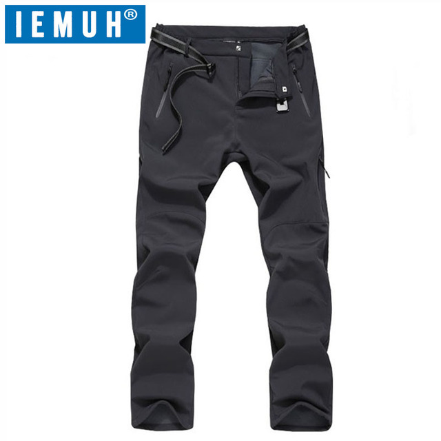 097606d7340 IEMUH Brand Size L-5XL Men Winter Ski Pants Fleece Softshell Hiking Pants  Outdoor Sports Trousers Trekking Camping Running Pants