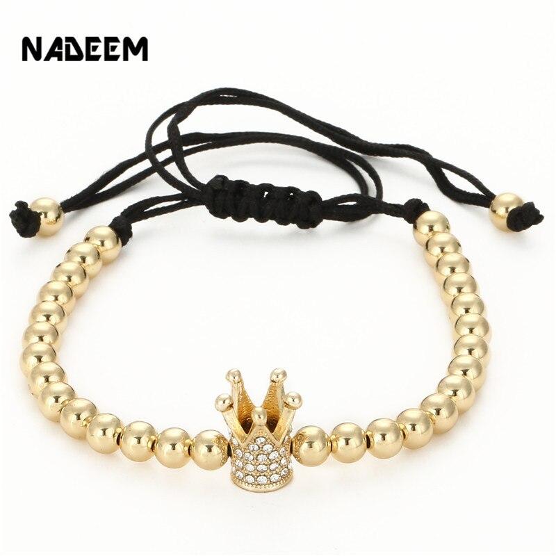 Men/'s Braided Macrame Bracelet 18k White Gold Plated Balls Beaded Anil Arjandas