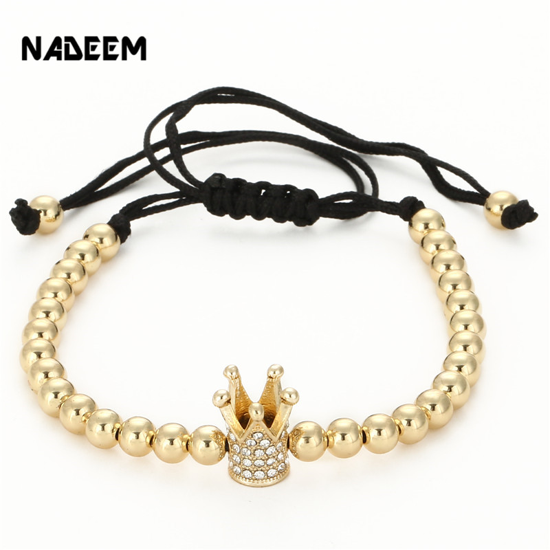 Fashion Men s Gold Color Imperial Micro Pave Crystal Crown Charm Bracelet Anil Arjandas Braiding Weave