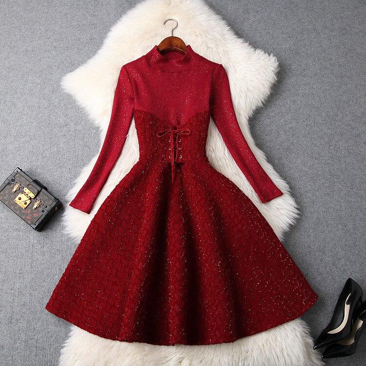 Robe de piste hiver 2018 femmes élégant arc col montant à manches longues paillettes tricoté robe de bal robe Vestidos