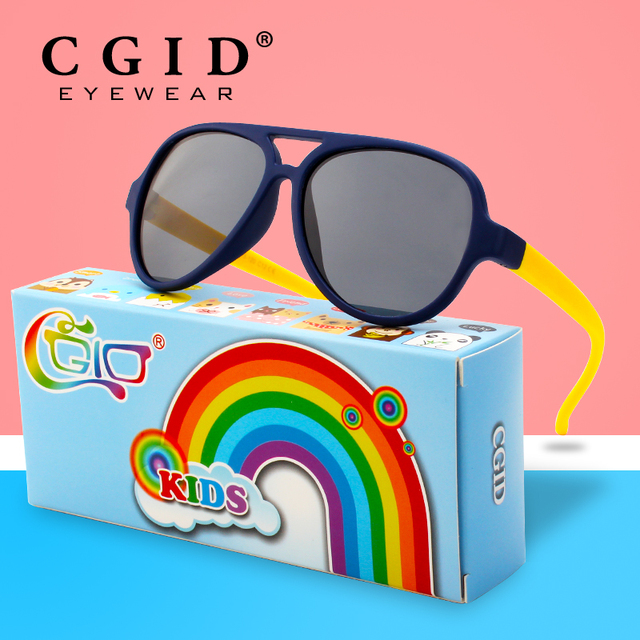 ec91213221c CGID Rubber Flexible Pilot Colorful Frame with Polarized Sunglasses Glasses  for Baby and Children Age 3-5 ET93