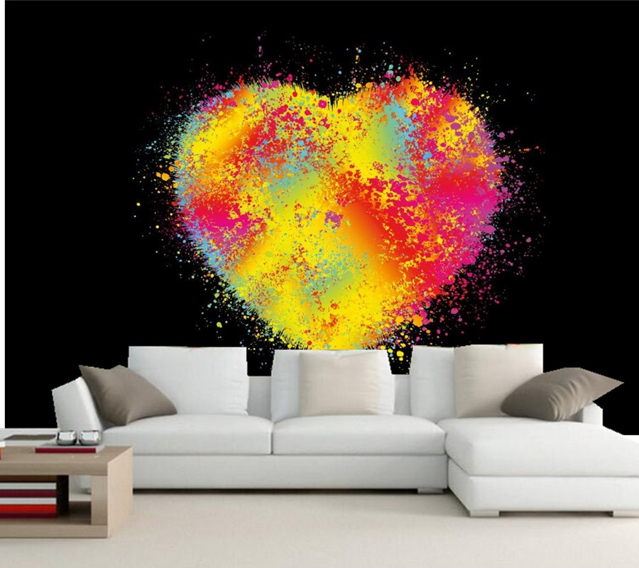Custom Abstraction Heart 3D Graphics mural wallpaper 3d,hotel bar living room sofa TV wall bedroom wallpaper papel de parede 3d mural papel de parede purple romantic flower mural restaurant living room study sofa tv wall bedroom 3d purple wallpaper