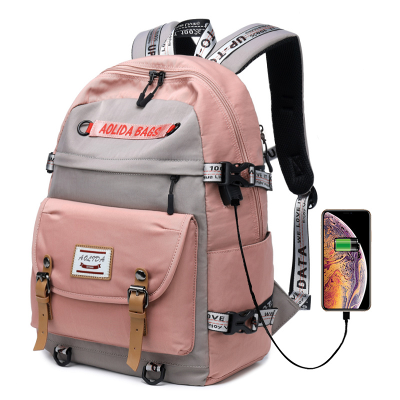 Large Capacity School Backpack For Girls High School Bookbags With USB Charging Port College Bags Satchel Lady Travel Bag