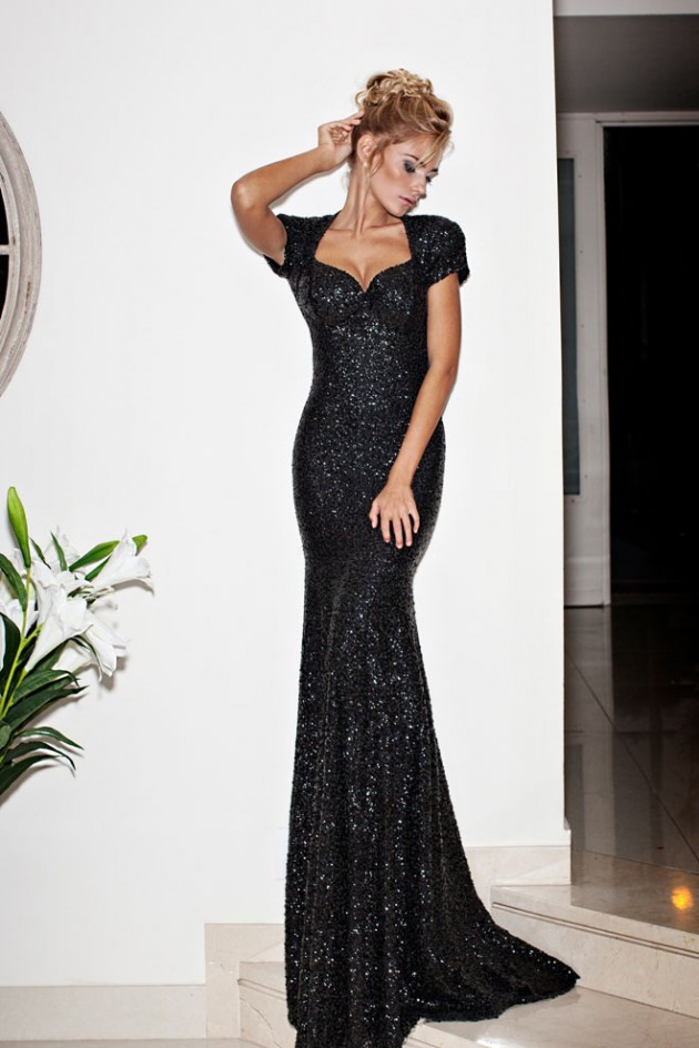 Black Lace Long Evening Dress Plain Simple Deep V Neck Short Sleeve