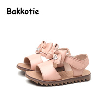 Bakkotie 2017 New Fashion Child Summer Baby Girl Genuine Leather Sandals Bow Leisure Shoe Black Rhinestone Beige Breathable Red