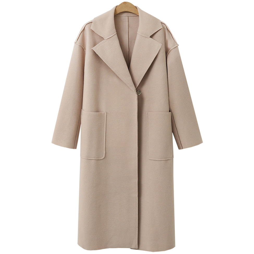 Casaco Inverno 2018 Winter Wool Coat Women Beige Solid Wool Jacket Long Women's Coat European Fashion Jacket Outwear