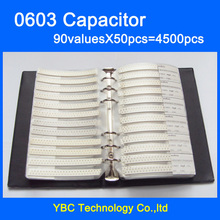 Free Shipping 0603 SMD Capacitor Sample Book 90valuesX50pcs=4500pcs 0.5PF~2.2UF Capacitor Assortment Kit Pack