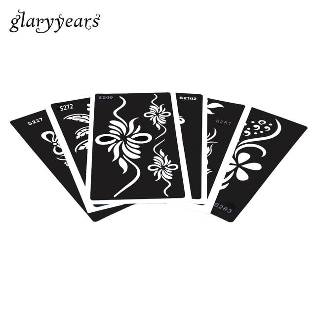 6 Sábanas mujeres cosmética Henna tatuaje stencil flor Encaje diseño ...