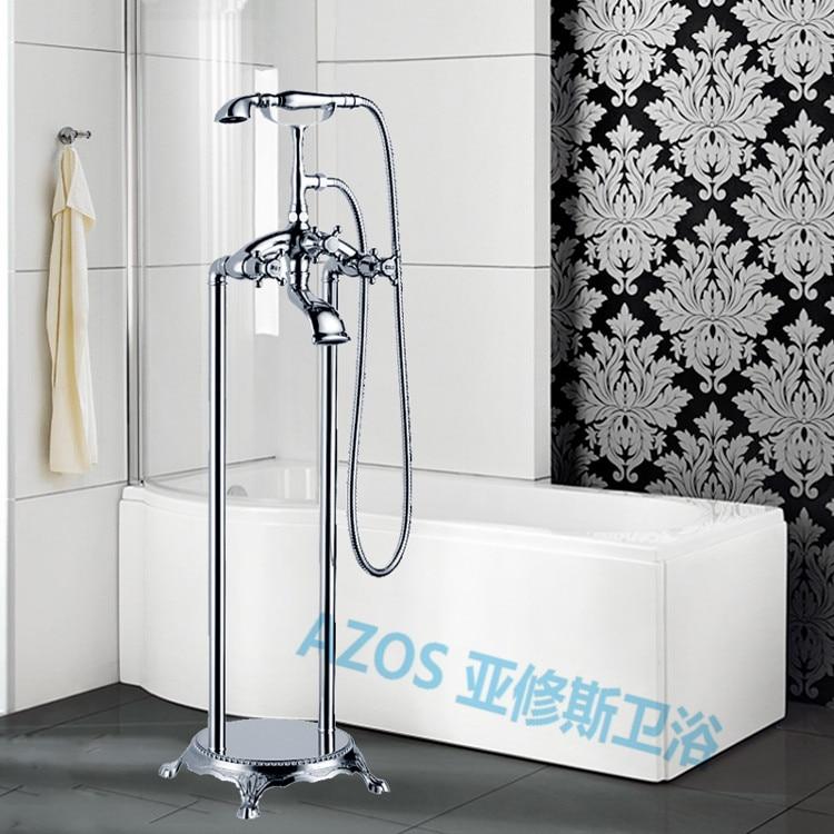 bathtub faucets waterfall chrome silver water mixers floor stand hand hold bathroom shower sauna kit ldtz015b