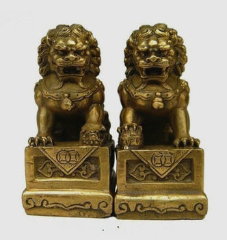 TNUKK  Pair of China Chinese Brass Folk Fengshui Foo Fu Dog Guardion Door Lion statues decoration metal handicraft