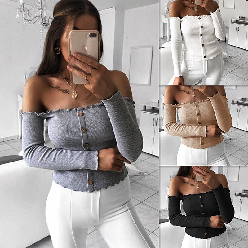 2018 Autumn Winter Pit Sexy Slim Smock Bottoming Shirt Female Word Shoulder Ruffled Small Fresh Hooded T-Shirt Short Sweater