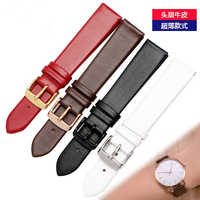 Ultra-sottile orologio cinturino in Vera pelle cinghia della cinghia da polso della fascia 10mm 12mm 14 millimetri 16 millimetri 18mm 20mm femmina rosso bianco nero