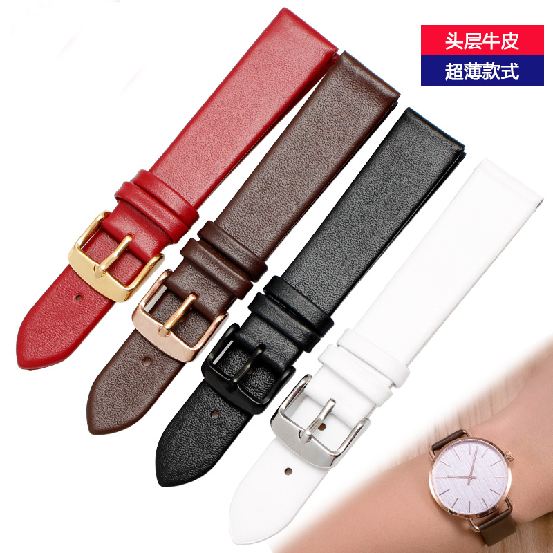 Ultra-thin Genuine Leather Watchband Watch Belt Strap Wristwatches Band 10mm 12mm 14mm 16mm 18mm 20mm Female Red White Black