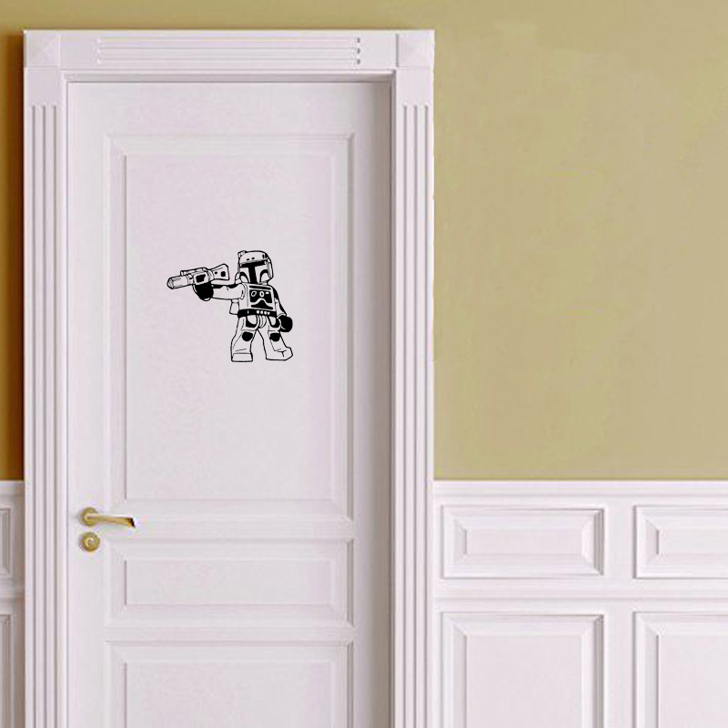 Cute Star Wars Vinyl Door Sticker Creative Home Decoration Wall Stickers For Kids Rooms A2321