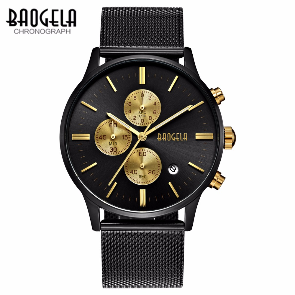 BAOGELA Männer Quarzuhr Edelstahlgewebe Band Gold Uhren Schlanke Herren Uhren Männliche sportmode Armbanduhr mode