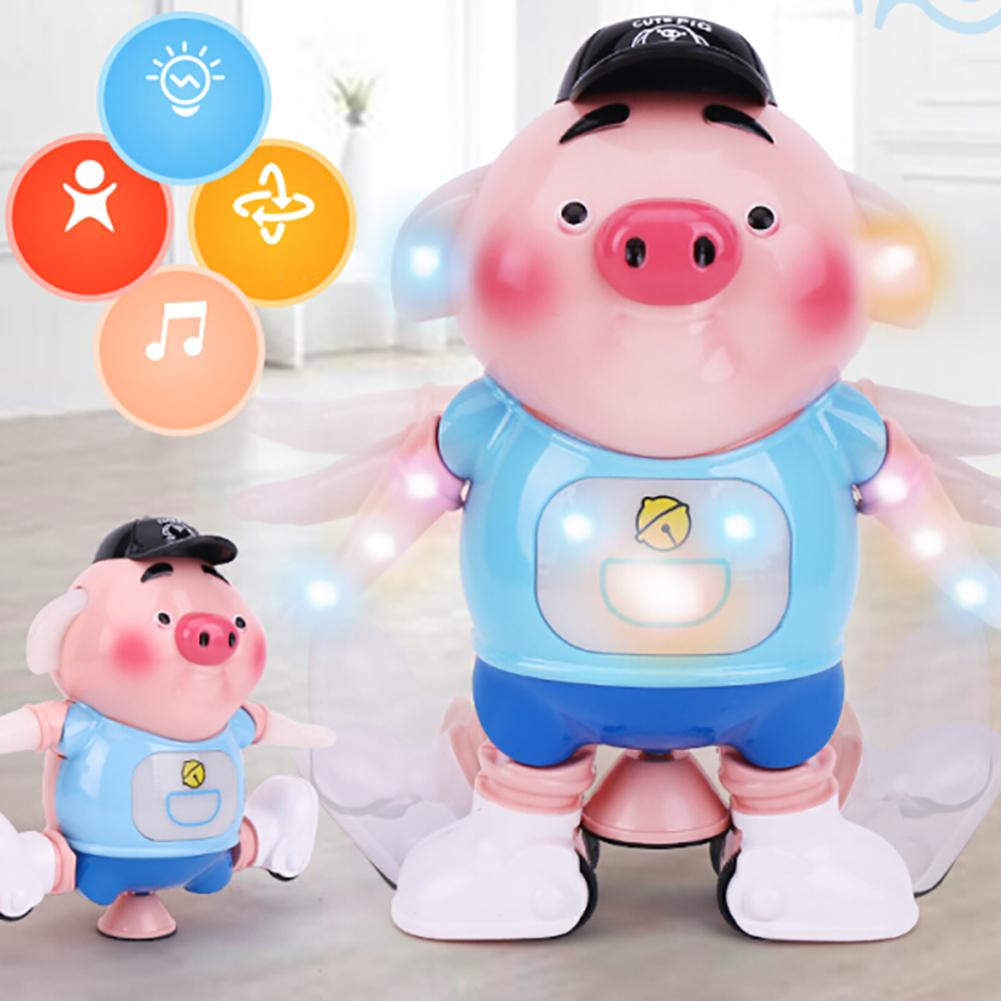 Electric Dancing Pig Robot 360 Degree Rotate Musical Flashing Education Kids Toy Gift For Children