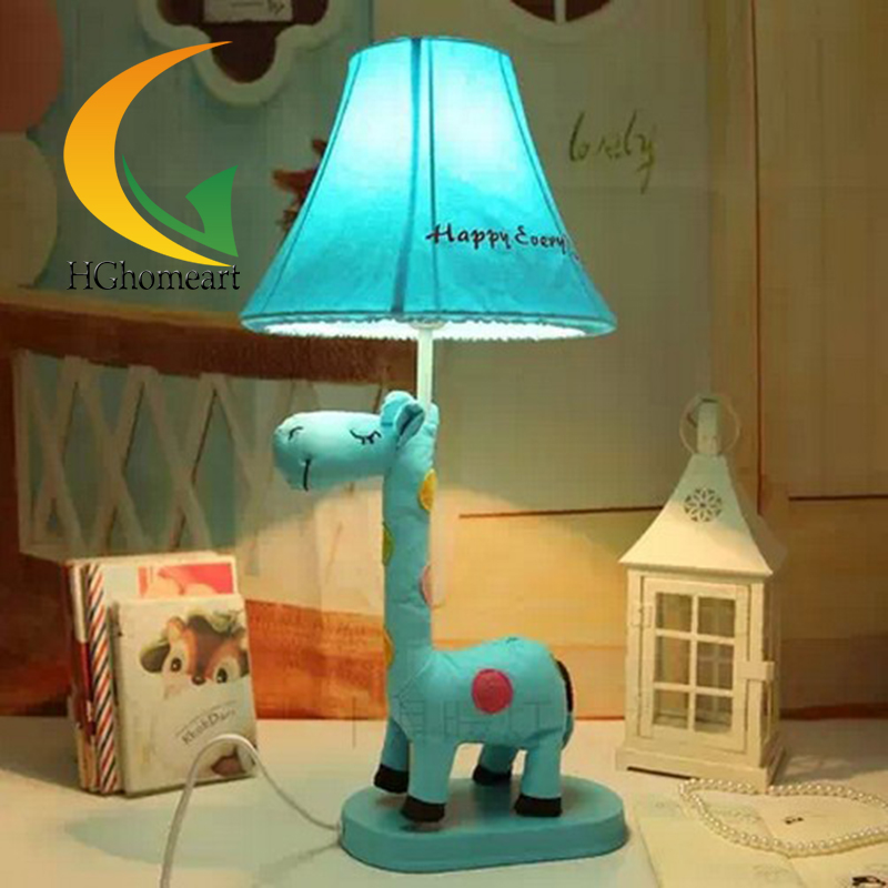 Childrens cartoon table lamp cloth fabric desk lamp living room pastoral style pet anima ...