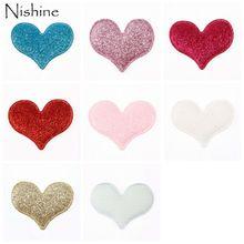 NISHINE 30PCS Glitter Cute Heart Diy Flower For Baby Girls Headband Hair Clips Flat Back Peach Decoration