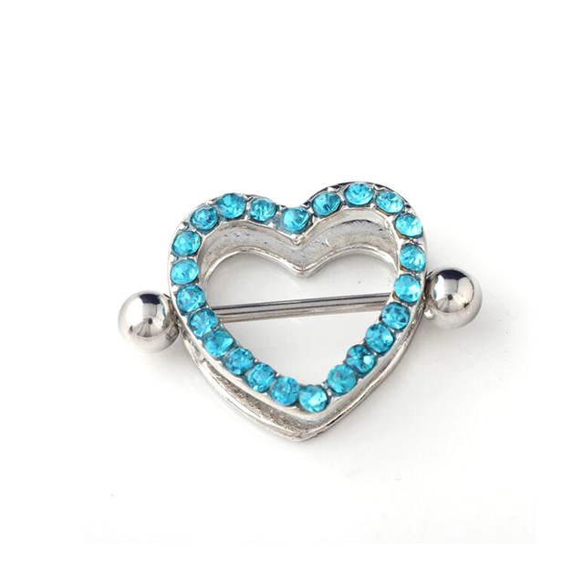 1 Pair 14G Stainless Steel Crystal Heart Nipple Rings