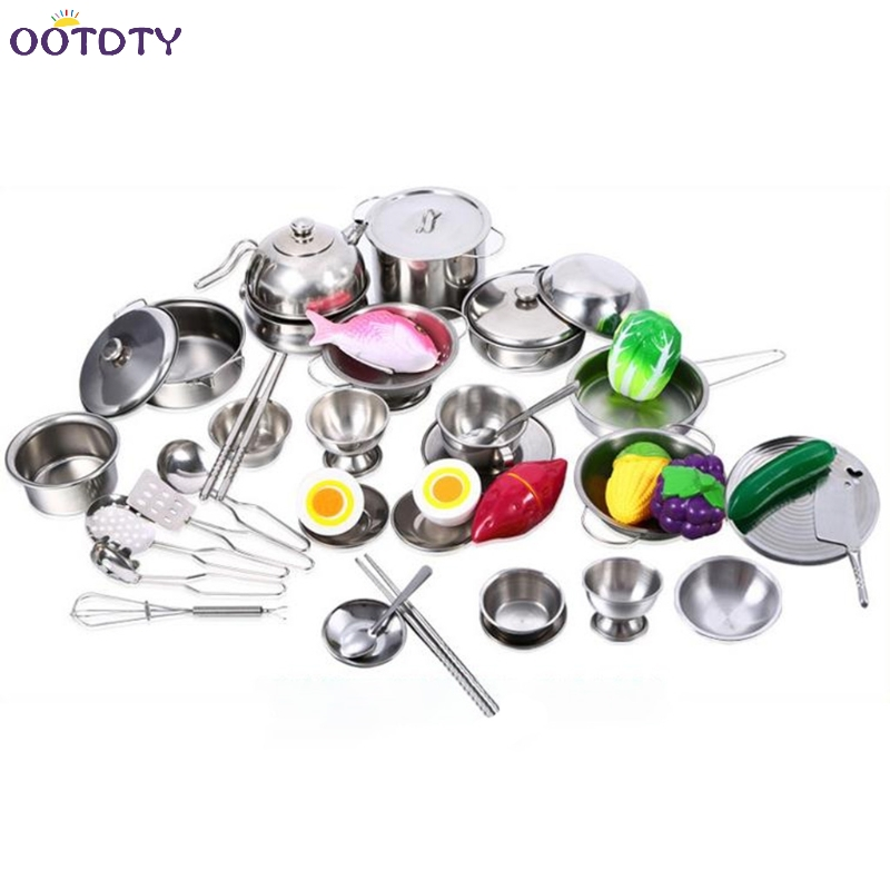 Jimitu Luxury Stainless Steel 16pcs Kitchen Cooking Play House Toys For Kids Mini Model Kitchenware Cookware Cooking Toys Kit Kitchen Toys