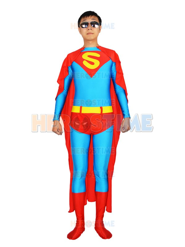 Free Shipping Light Blue and Red Superman Spandex Superhero Costume with Cape Lycra Zentai Halloween Superman Cosplay Bodysuit