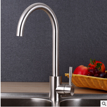 2016 high quality 304 stainless steel modern heavy single hole cold and hot bathroom kitchen faucet sink faucet