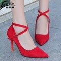 2017 Mujeres Bombas Sexy Mujer Zapatos de Tacones Altos Zapatos de Boda-atado Cruz Correa Del Tobillo Del Alto Talón de Las Señoras Zapatos chaussure femme talon