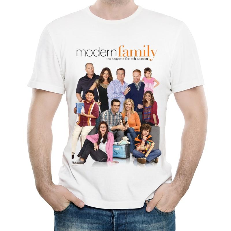 Modern Family T Shirt White Color Mens Fashion Short Sleeve TV Drama Modern Family T-shirt Tops Tees Tshirt Casual T-shirt
