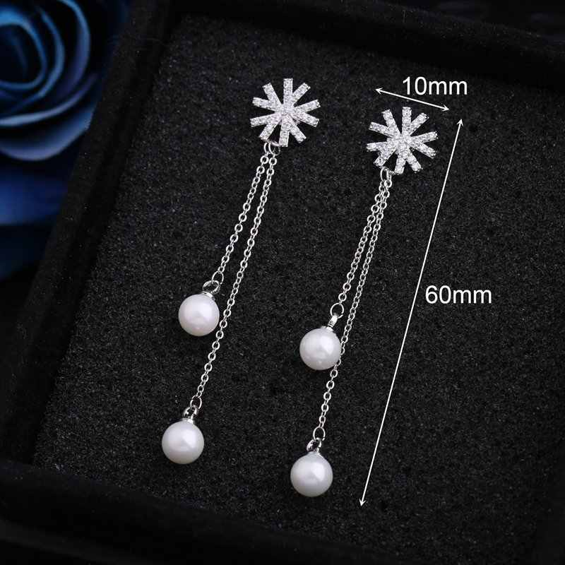 MIGGA à la mode cubique Zircon cristaux fleur balancent boucles d'oreilles pour femmes filles cadeau simulé perle boucles d'oreilles