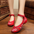 Floral Women Embroidery Shoes Chinese Style Flats with Mary Janes Casual Red+Black Blue Soft Sole Old Peking dance Cloth Shoes