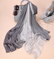 Nieuwe Stijl Sjaal Merk Ontwerp kleurverloop handgeschilderde Dunne Zijden Sjaal 180x90 cm Big Size Hijab mode Sjaals Voor Vrouwen