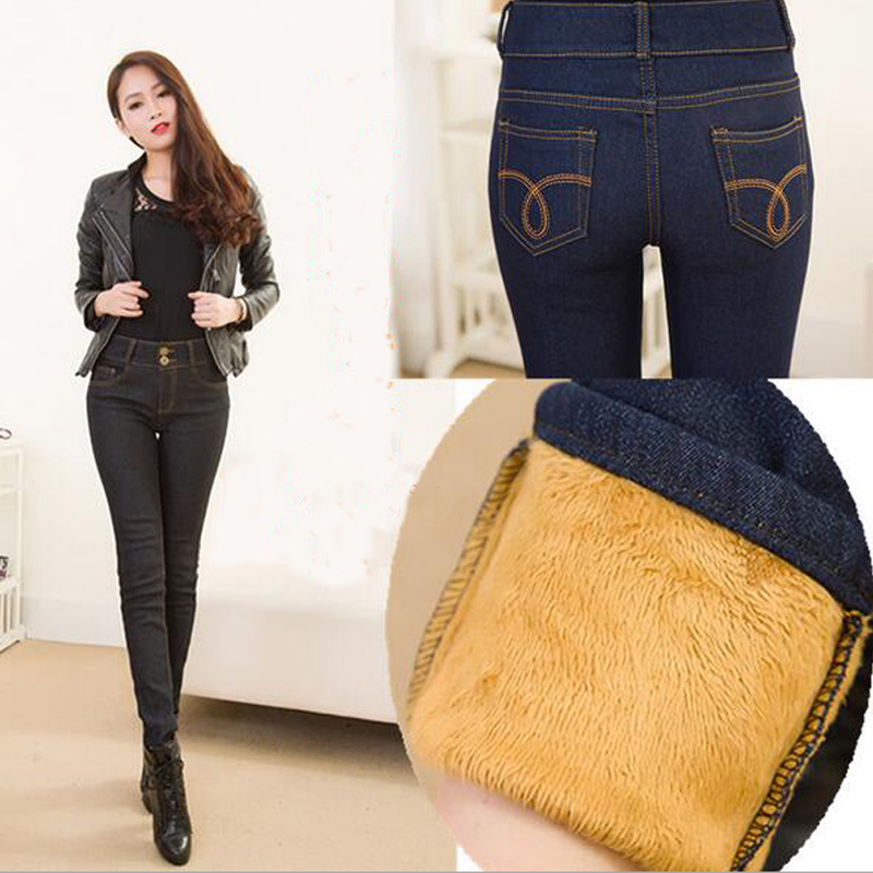 Winter Warm Thick Velvet Skinny Jeans Pants for Woman Plus Size 2017 New Black Denim Trousers Skinny Ladies Pant Femme Pantalon plus size pants the spring new jeans pants suspenders ladies denim trousers elastic braces bib overalls for women dungarees
