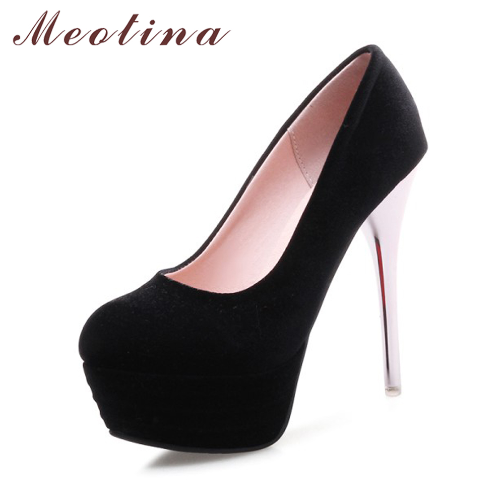 Meotina Shoes Women High Heels Pumps Spring Round Toe Female Platform Shoes Sexy Party Shoes Ladies Wedding Heels Gray Red 34-43 meotina high heels shoes women pumps party shoes fashion thick high heels pointed toe flock ladies shoes gray plus size 10 40 43