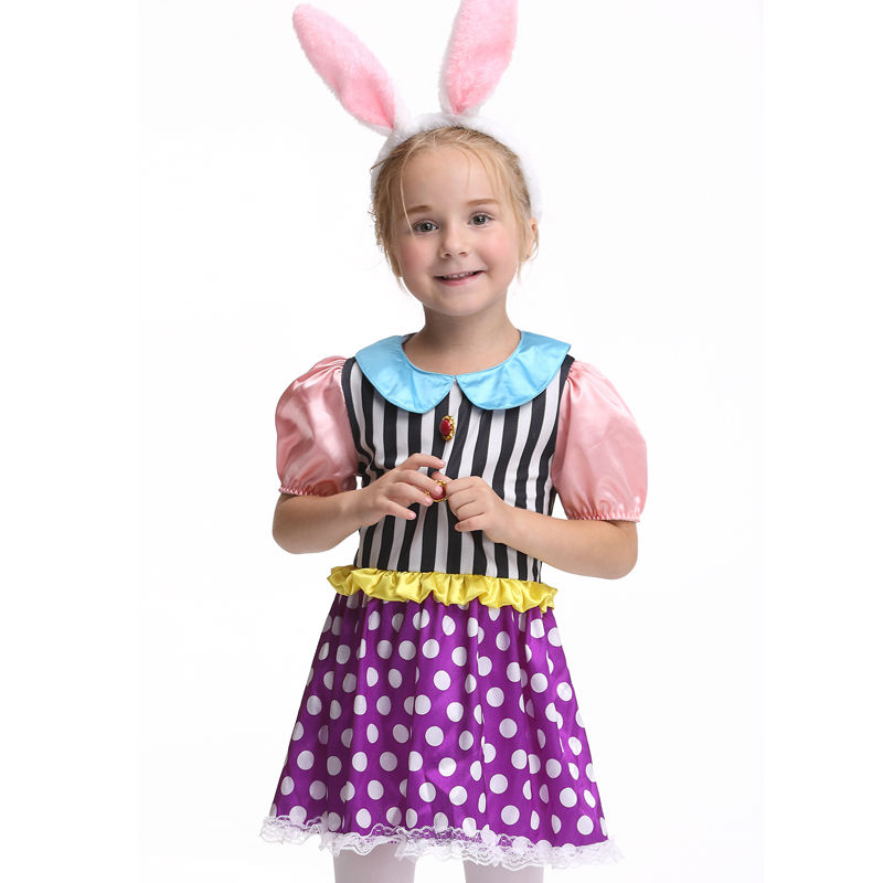 Rabbit Halloween Costume For Girls Short Sleeves Cosplay Performance Party Fancy Costumes Girl Clothing Children Dress Headwear 4pcs gothic halloween artificial devil vampire teeth cosplay prop for fancy ball party show