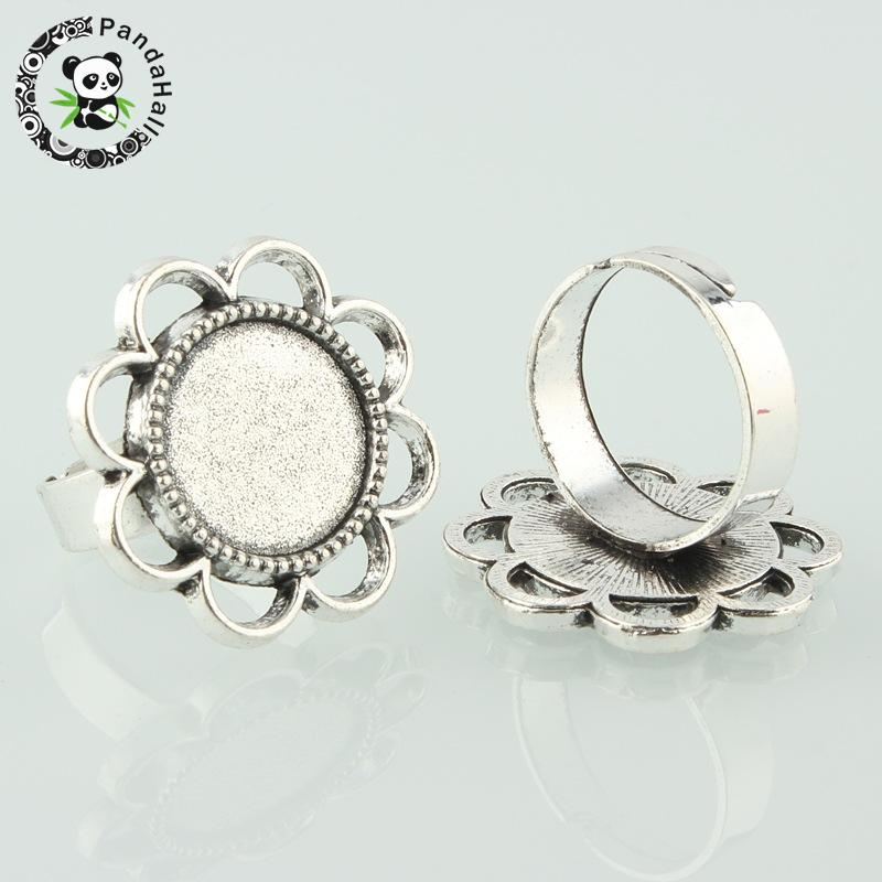 Vintage Adjustable Iron Finger Ring Components Alloy Flower Cabochon Bezel Settings, Antique Silver, Flat Round Tray: 14mm; 17mm