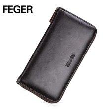 Бесплатная доставка FEGER новый приходить дешевые молния бумажник долго тип Pu мужчины