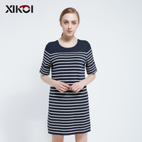 Women Sweater Knitted Dresses Casual Pullover O Neck Fashion Striped Spring Jumper Pullovers With Button Sweaters Woman