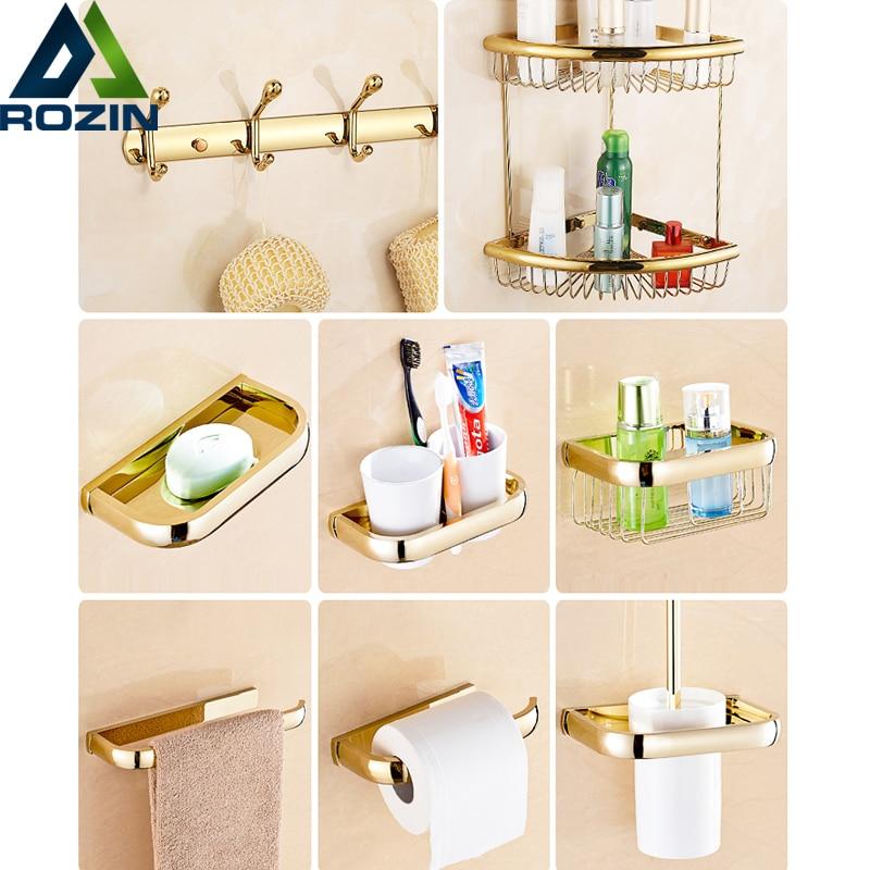 free shipping golden bathroom hardware sets bath shower shelf wall mounted brass soap paper holder towel hooks - Bathroom Hardware Sets