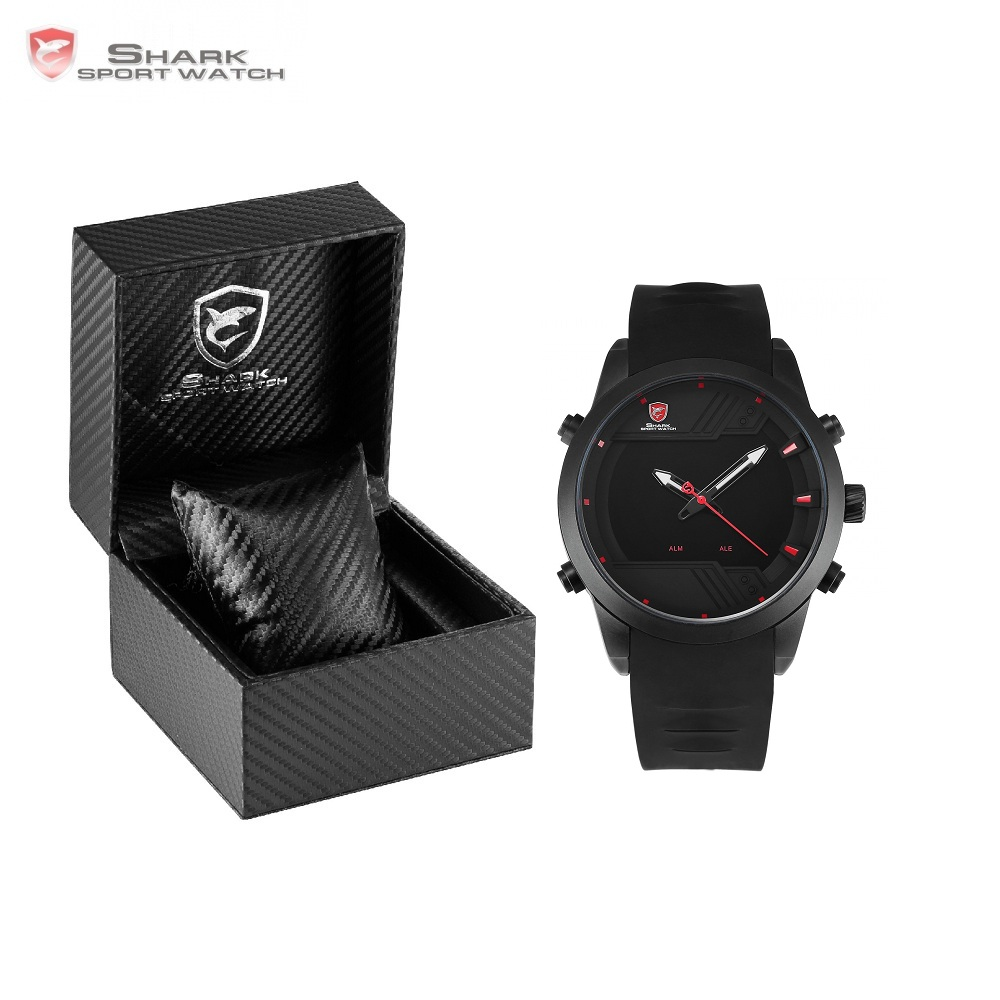 цена на Luxury Leather Box Sawback Angel Shark Sport Watch NEW Edition LED Digital Date Alarm Dual Time Silicon Men Wristwatch/SH539-541