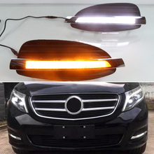 For Mercedes Benz V-Class Vito V250 V260 2016 2017 LED DRL Daytime Running Lights Front Fog Lamp Flowing Turn Signal Light цена 2017