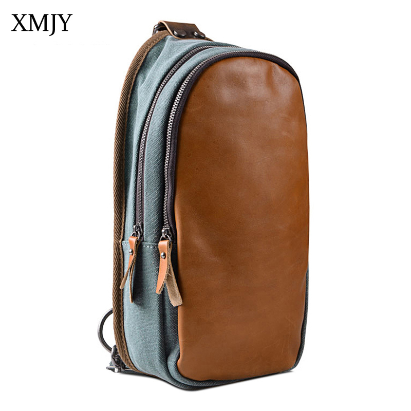 XMJY Men's Canvas Chest Bags Stitching Leather Messenger Bag Vintage Crossbody Pack Casual School Travel Small Bag augur 2018 men chest bag pack functional canvas messenger bags small chest sling bag for male travel vintage crossbody bag