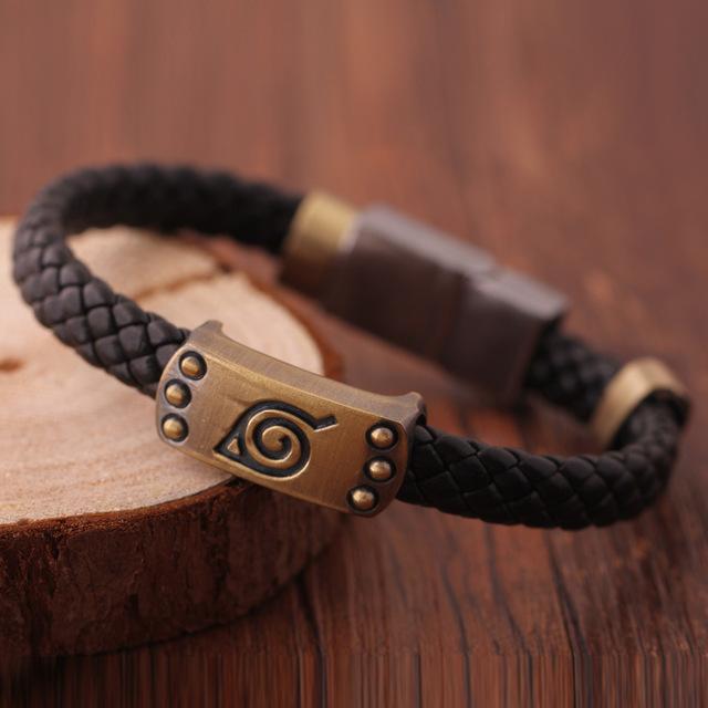 Naruto Anime Leaf Mark Brown Wristband Bracelet – Cosplay Bangle