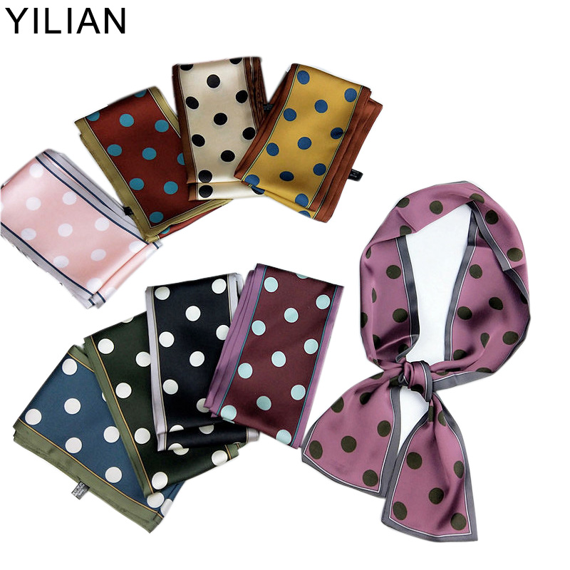 YILIAN Brand Belt Chain Print Dots   Scarf   2019 Silk   Scarf   For Women Fashion Head   Scarf   Long Handle Bag   Scarves     Wraps   SC049