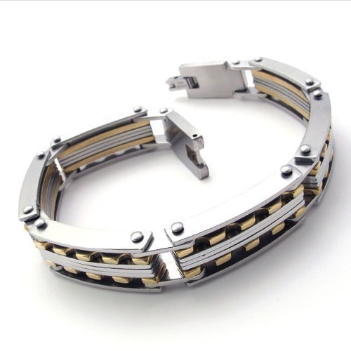 Occidental Fashion Titanium Steel Gold Wide Tennis Cuff Bracelet for Men