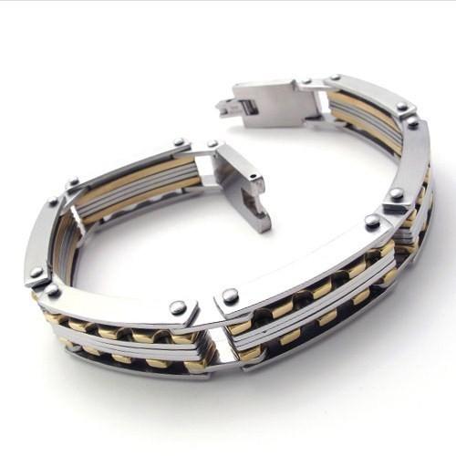 Ocidental moda titânio aço ouro grande pulseira de tênis para homens