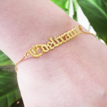 Personalized Old English Name bracelets Custom Women Men  Jewelry Gold Chain Pendant For