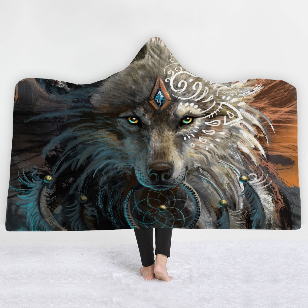 3D Wolf Hooded Blanket