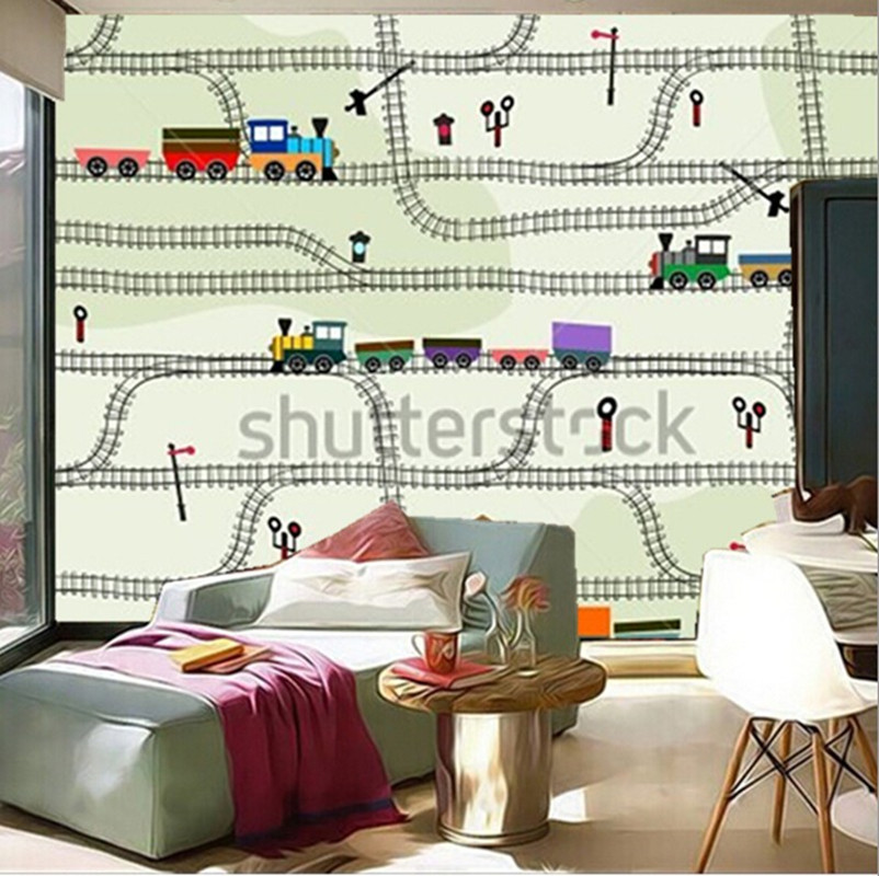 Custom 3D murals,funny kids pattern railway with locomotives,semaphores,living room sofa TV wall children bedroom wall paper the custom 3d murals parks sunrises and sunsets trees heart grass nature wallpapers living room sofa tv wall bedroom wall paper
